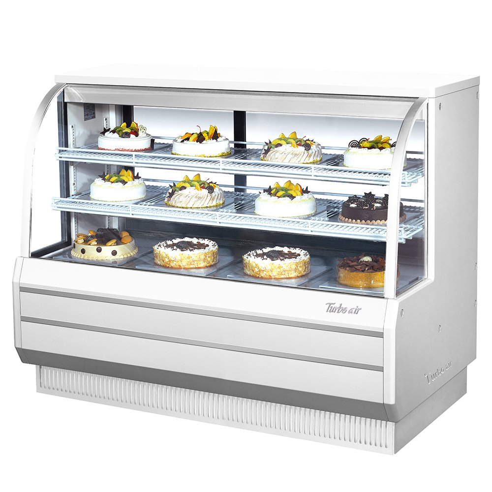 "Turbo Air TCGB602 60"" Full Service Bakery Case w/ Curved Glass - (3) Levels, 115v"