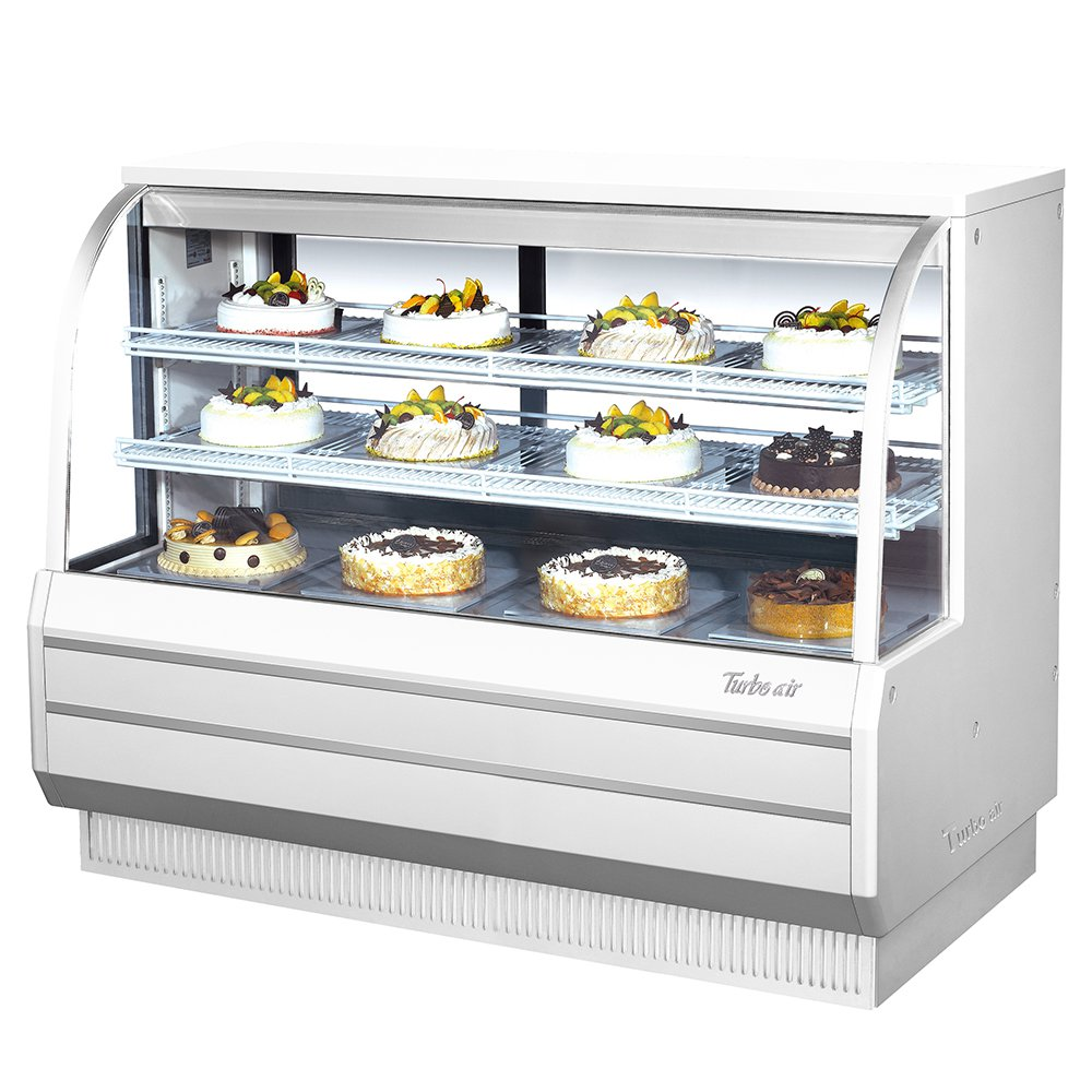 "Turbo Air TCGB-60-CO 60.5"" Full Service Bakery Display Case w/ Curved Glass - (3) Levels, 115v"
