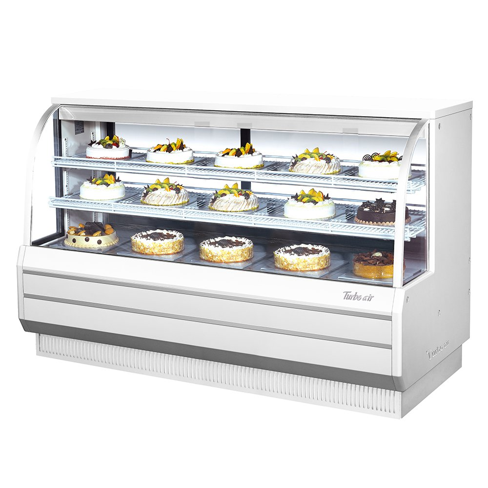"Turbo Air TCGB-72-2 72.5"" Full Service Bakery Display Case w/ Curved Glass - (3) Levels, 115v"