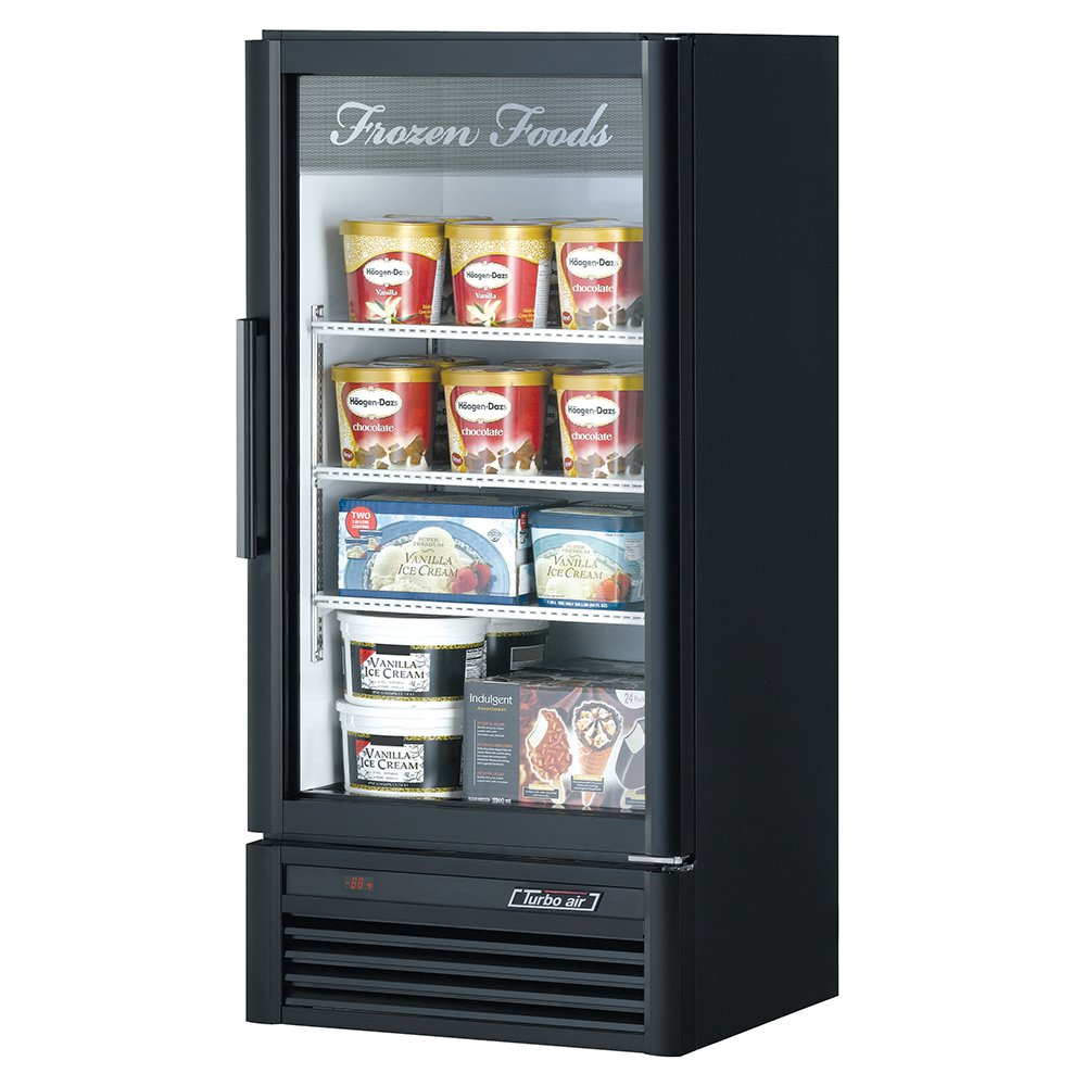 "Turbo Air TGF-10SD 25.75"" One-Section Display Freezer w/ Swinging Door - Bottom Mount Compressor, Black, 115v"