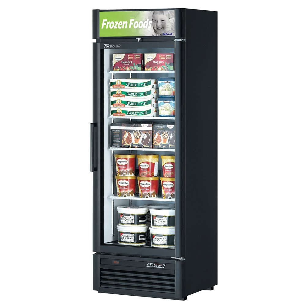 "Turbo Air TGF-15SD 26.37"" One-Section Display Freezer w/ Swinging Door - Bottom Mount Compressor, Black, 115v"