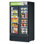 "Turbo Air TGF-35SD-N 39.5"" Two-Section Display Freezer w/ Swinging Doors - Bottom Mount Compressor, Black, 115v"
