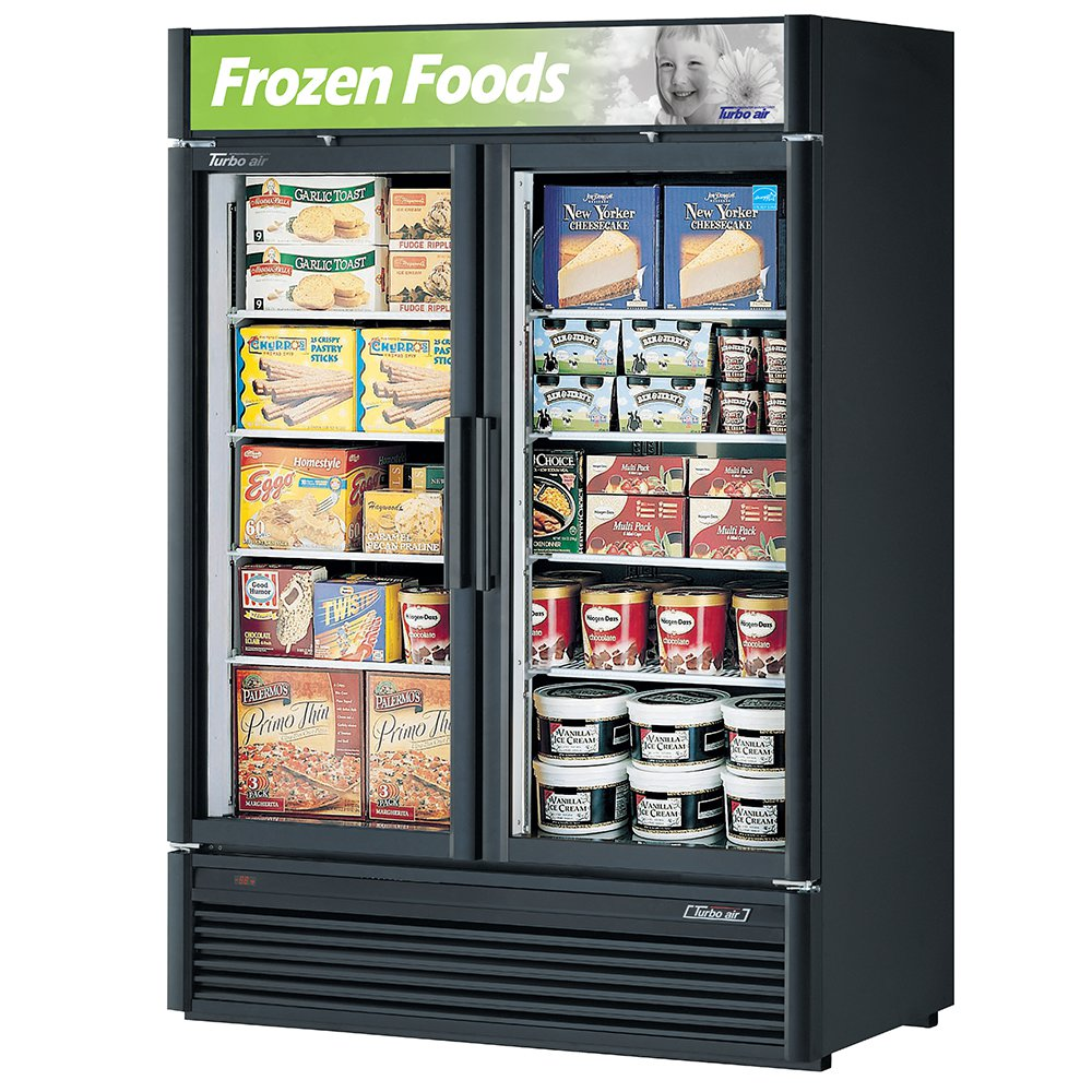 "Turbo Air TGF-47SD 51.12"" Two-Section Display Freezer w/ Swinging Doors - Bottom Mount Compressor, 115v"