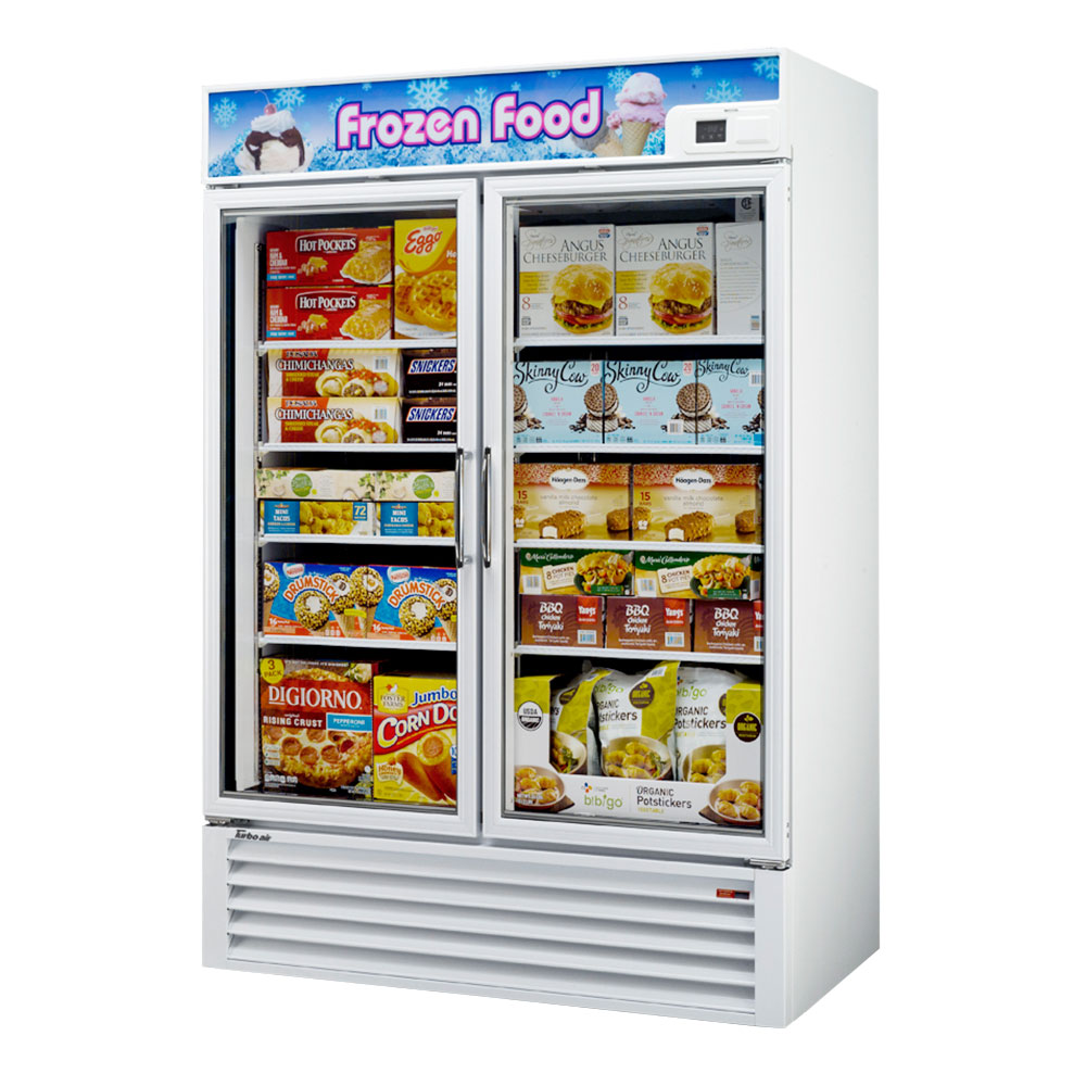 "Turbo Air TGF49F 54.37"" Two-Section Display Freezer w/ Swinging Doors - Bottom Mount Compressor, 115v"
