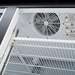 "Turbo Air TGF-49FBE 54.37"" Two-Section Display Freezer w/ Swinging Doors - Bottom Mount Compressor, 115v"