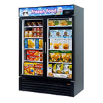 "Turbo Air TGF-49FB-N 54.38"" Two-Section Display Freezer w/ Swinging Doors - Bottom Mount Compressor, Black, 115v"
