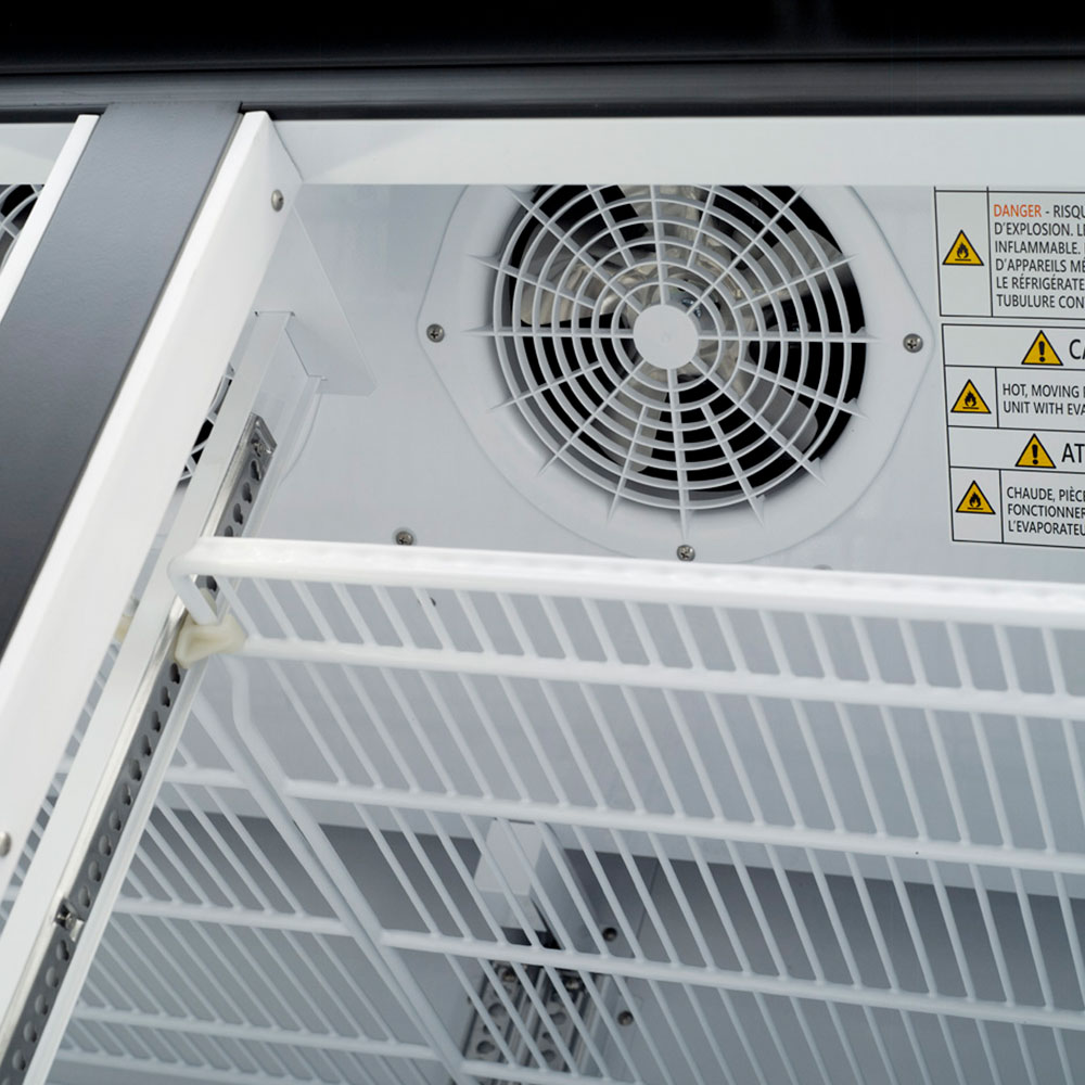 "Turbo Air TGF-49FB-N 54.38"" Two-Section Display Freezer w/ Swinging Doors - Bottom Mount Compressor, Black, 115v"
