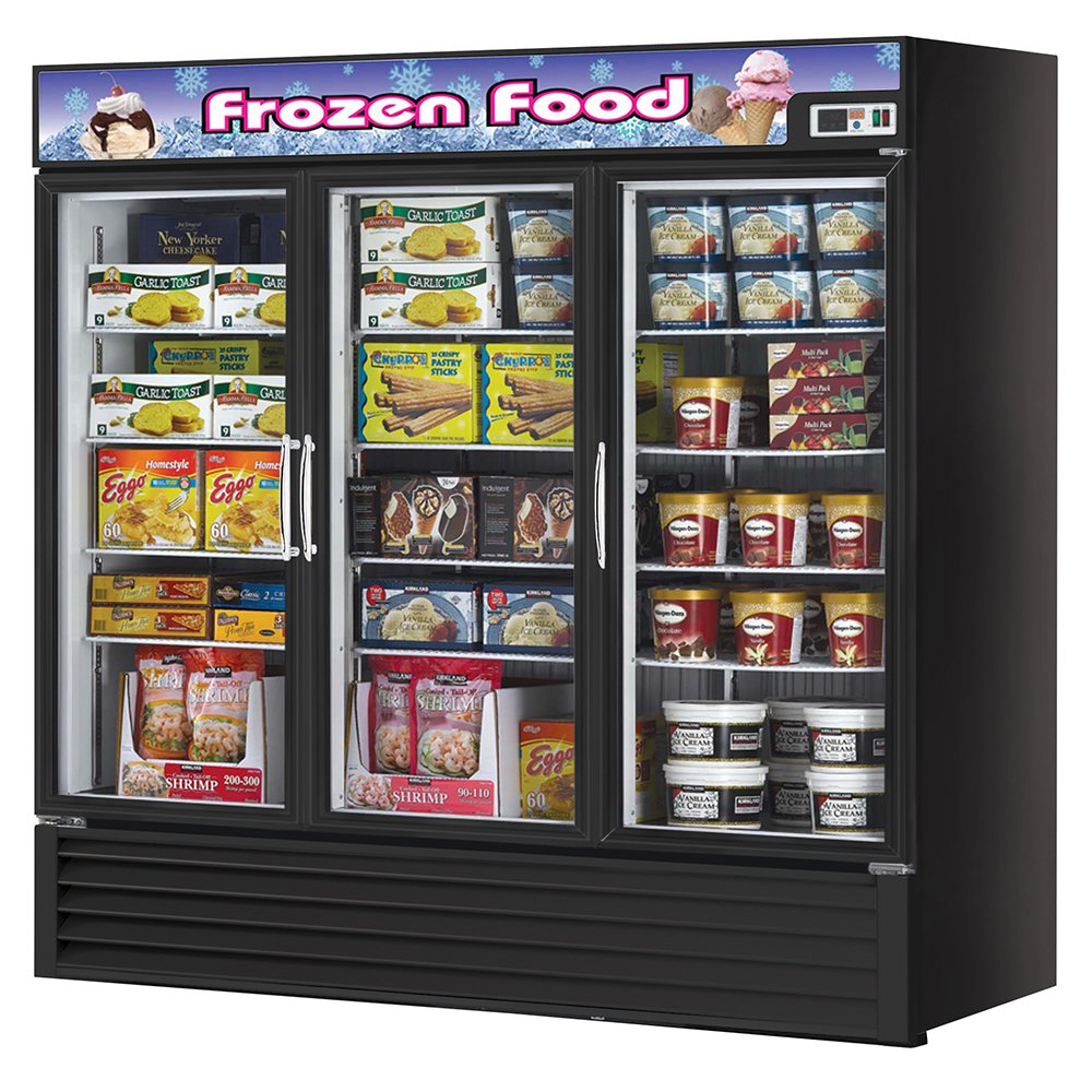 "Turbo Air TGF-72FB 81.88"" Three-Section Display Freezer w/ Swinging Doors - Bottom Mount Compressor, Black, 115v"