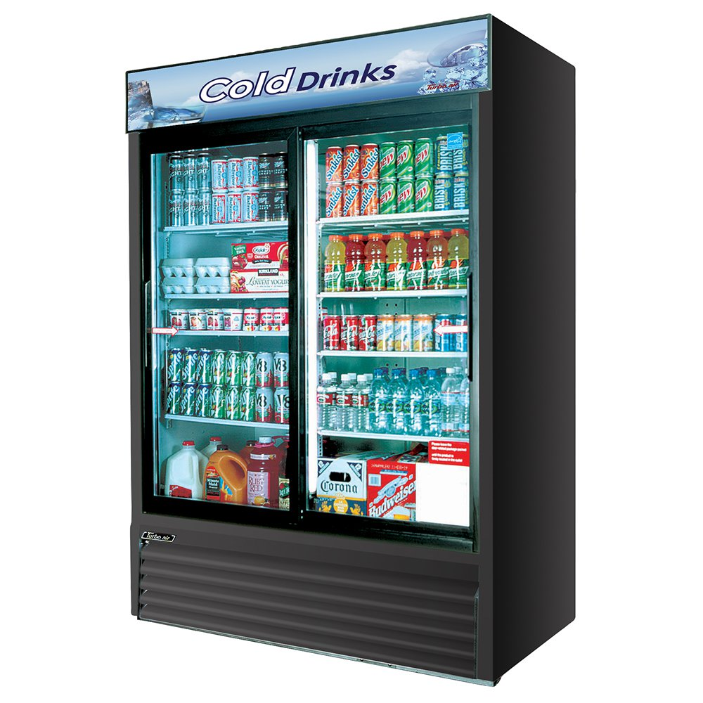 """Turbo Air TGM-48RB 55.88"""" Two-Section Refrigerated Display w/ Sliding Doors, Bottom Mount Compressor, 115v"""