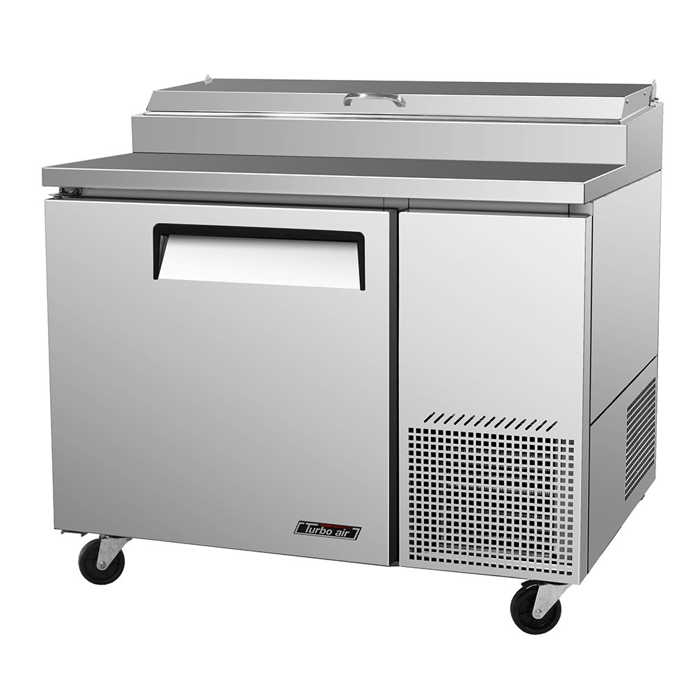 TPR-44SD Pizza Prep Table w/ 6-Condiment Pans & 1-Door 14-cu ft Restaurant Supply
