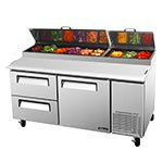 "Turbo Air TPR-67SD-D2 67"" Pizza Prep Table w/ Refrigerated Base, 115v"