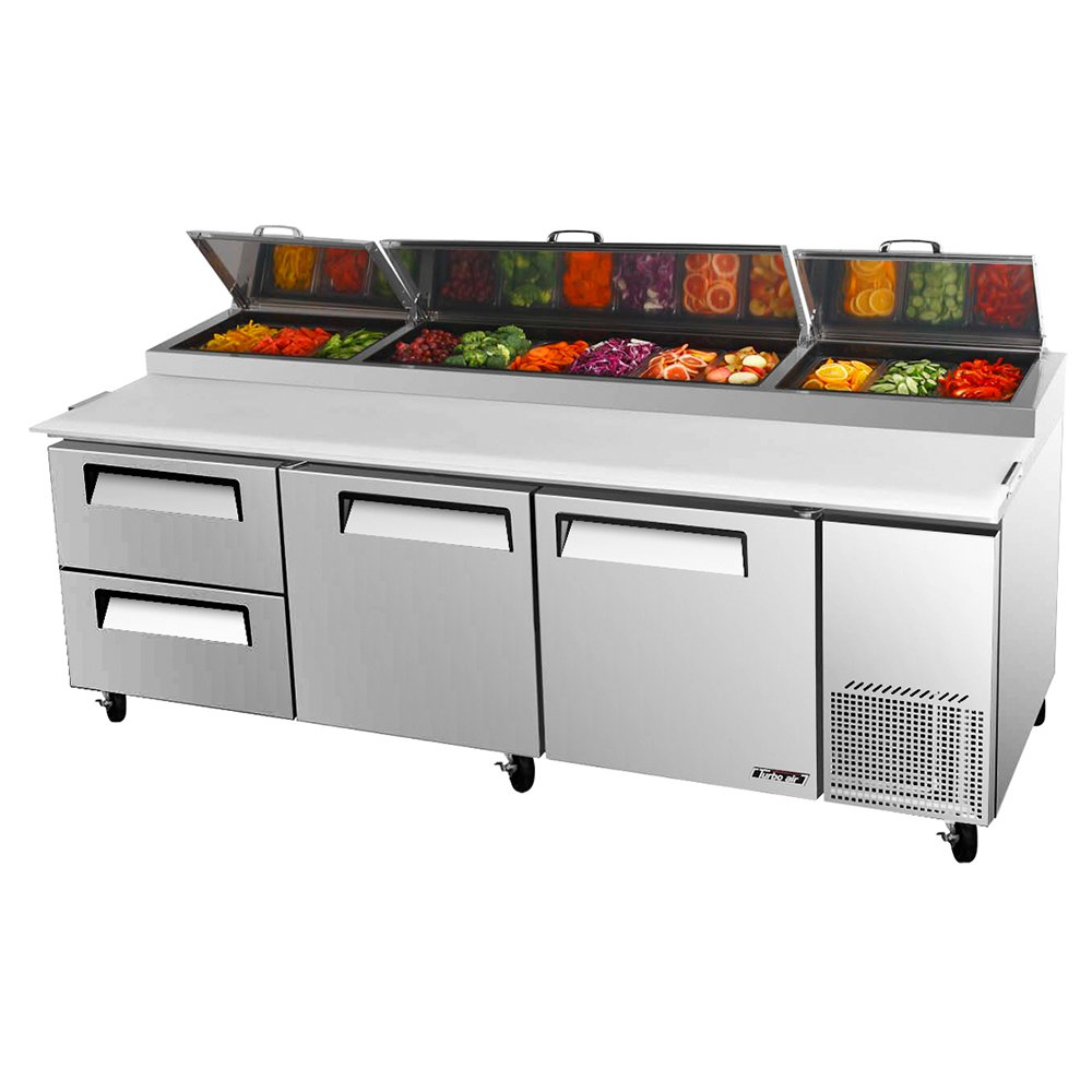 "Turbo Air TPR-93SD-D2 93"" Pizza Prep Table w/ Refrigerated Base, 115v"