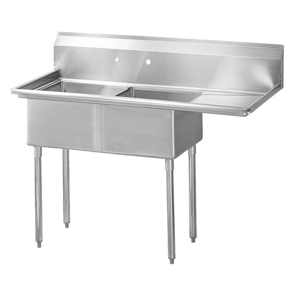 "Turbo Air TSA-2-R1 57"" 2-Compartment Sink w/ 18""L x 18""W Bowl, 11"" Deep"