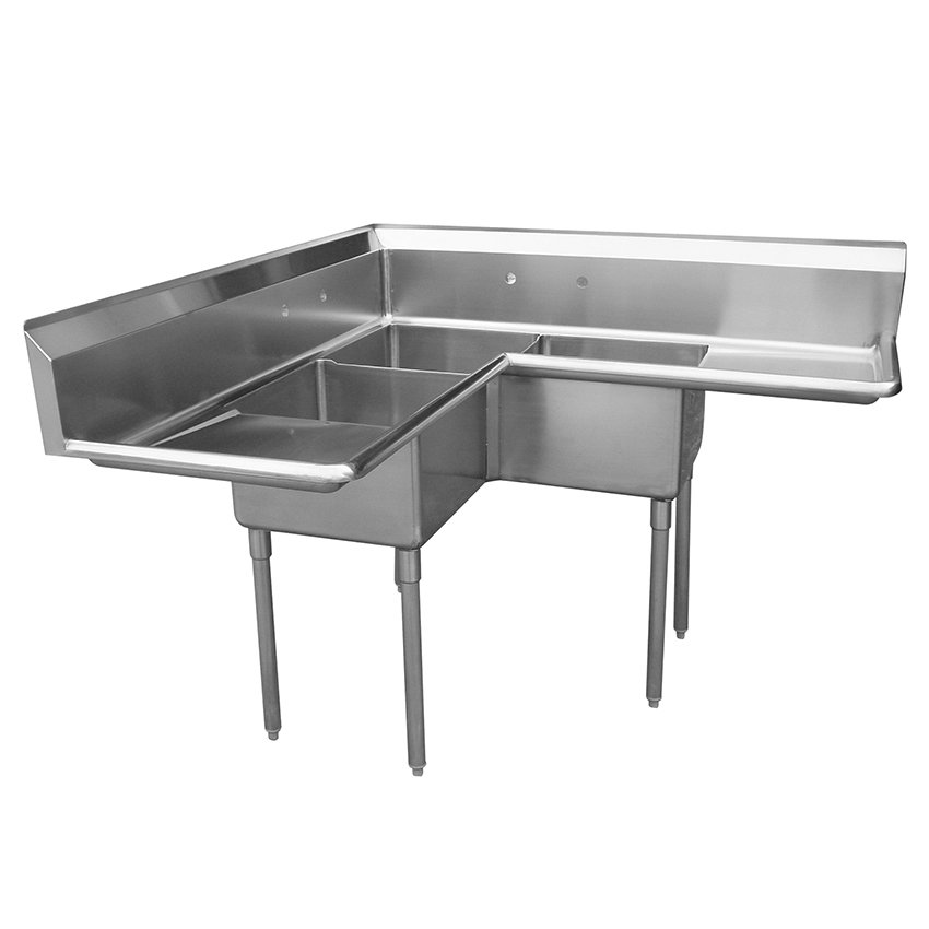 "Turbo Air TSA-3C-D1 57"" 3-Compartment Sink w/ 18""L x 18""W Bowl, 11"" Deep"