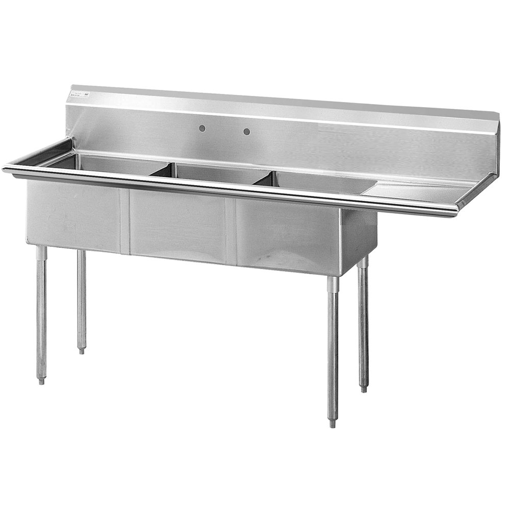 "Turbo Air TSA-3-R1 75"" 3-Compartment Sink w/ 18""L x 18""W Bowl, 11"" Deep"