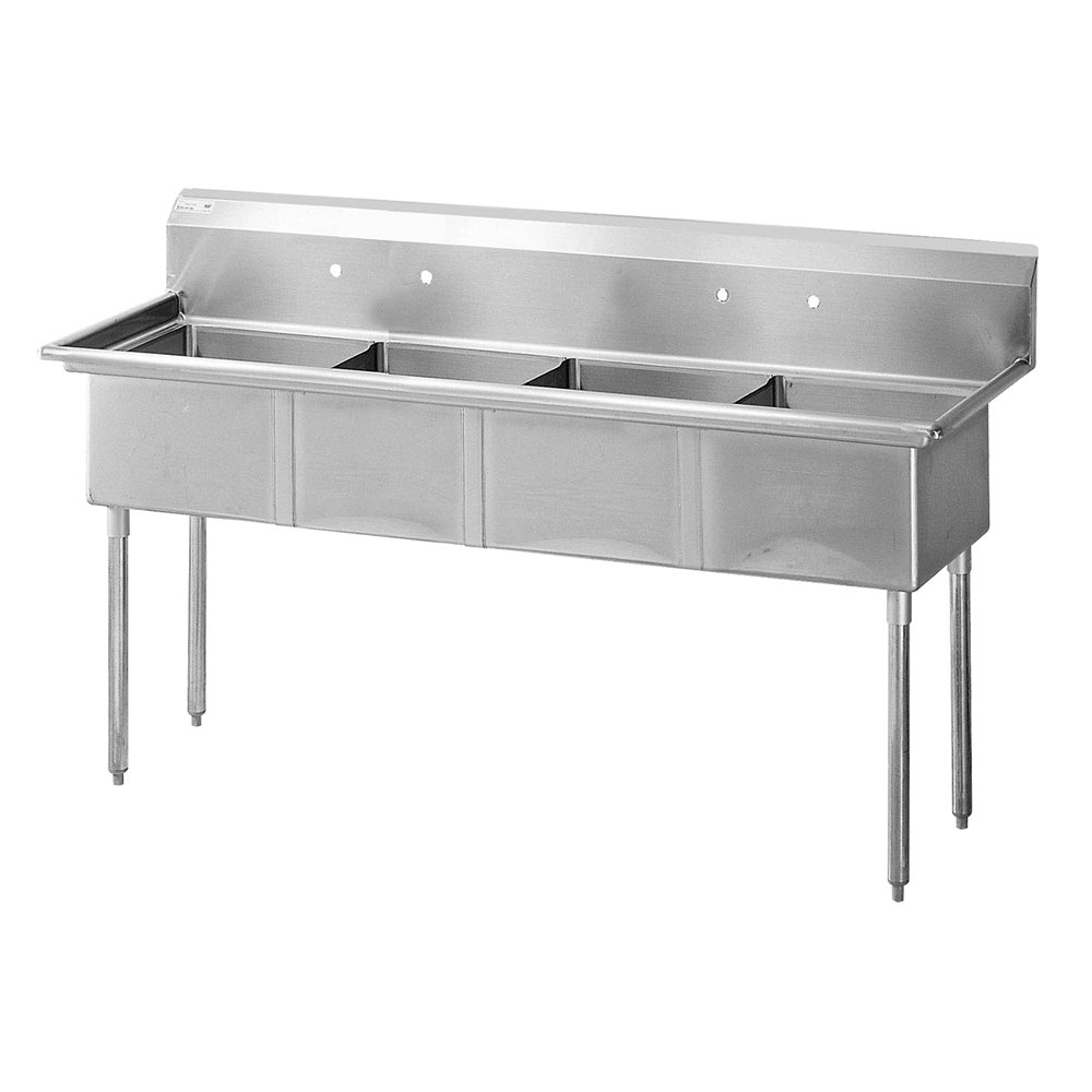 Turbo Air TSA-4-N Sink, (4) 18 x 18 x 11-in Deep w/ 11-in Splash, Stainless