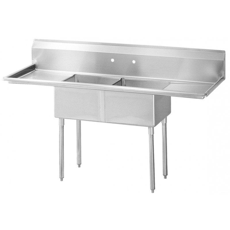 """Turbo Air TSB-2-D2 96"""" 2-Compartment Sink w/ 24""""L x 24""""W Bowl, 14"""" Deep"""