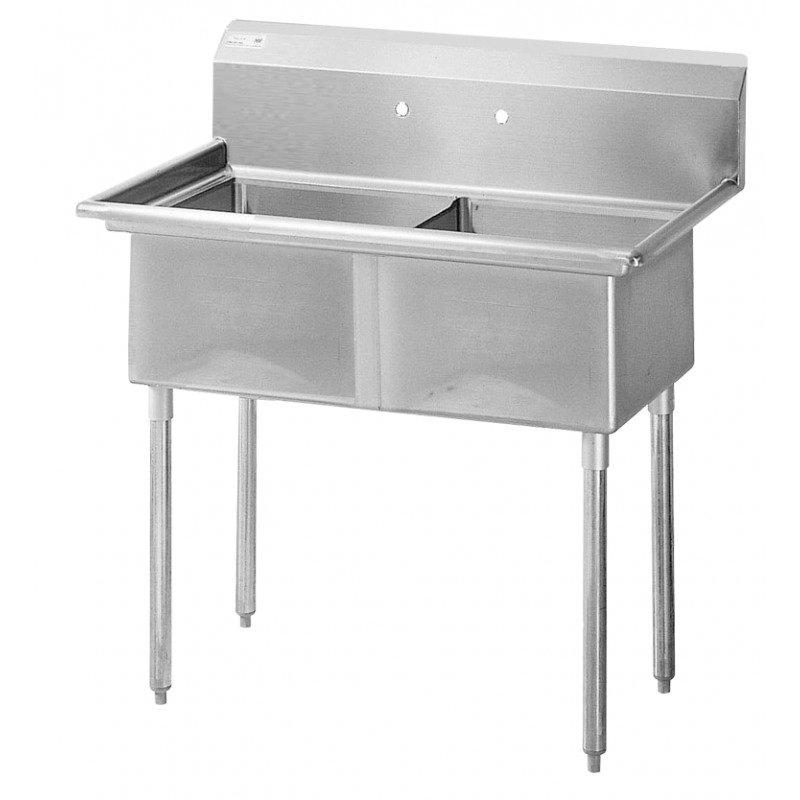 """Turbo Air TSB-2-N 54"""" 2-Compartment Sink w/ 24""""L x 24""""W Bowl, 14"""" Deep"""