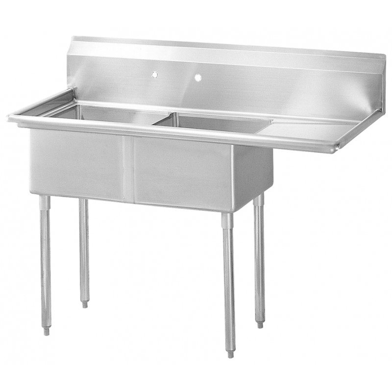 "Turbo Air TSB-2-R2 75"" 2-Compartment Sink w/ 24""L x 24""W Bowl, 14"" Deep"