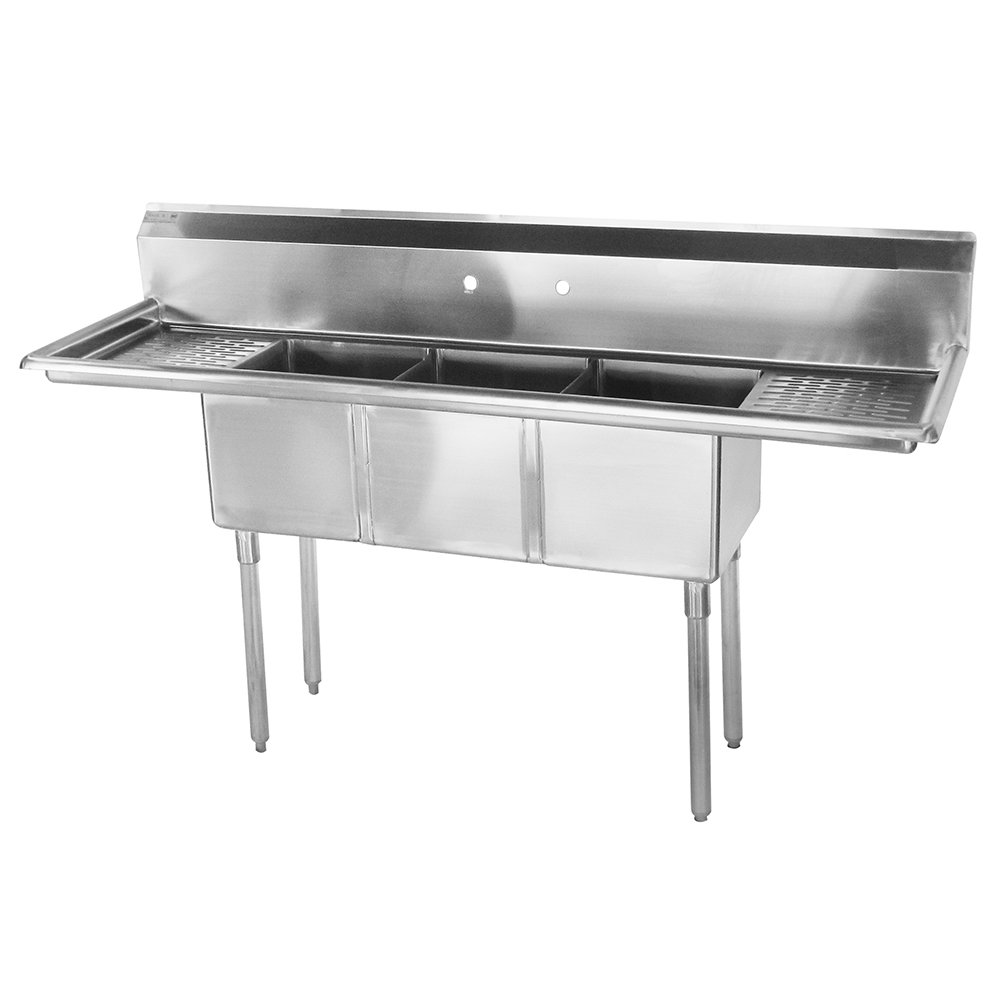 "Turbo Air TSCS-3-21 60"" 3-Compartment Sink w/ 14""L x 10""W Bowl, 10"" Deep"