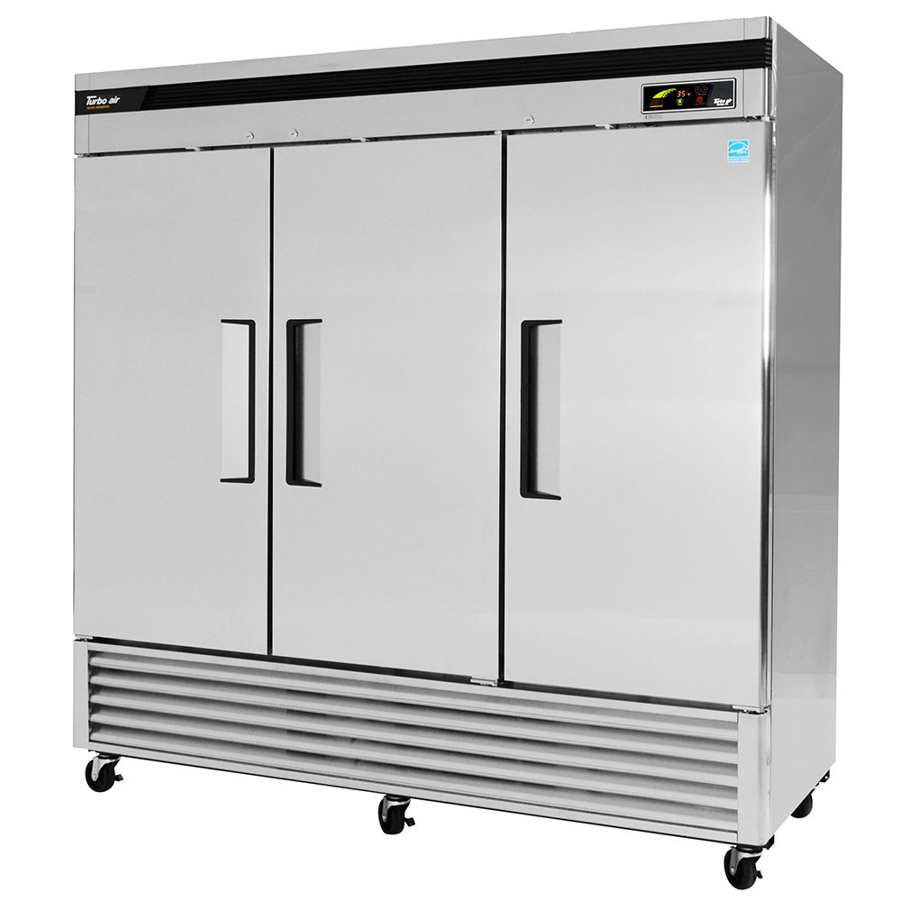 "Turbo Air TSR-72SD 81"" Three Section Reach-In Refrigerator, (3) Solid Door, 115v"