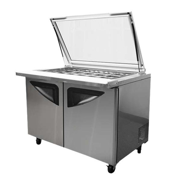 "Turbo Air TST-48SD-18-GL 48.25"" Sandwich/Salad Prep Table w/ Refrigerated Base, 115v"