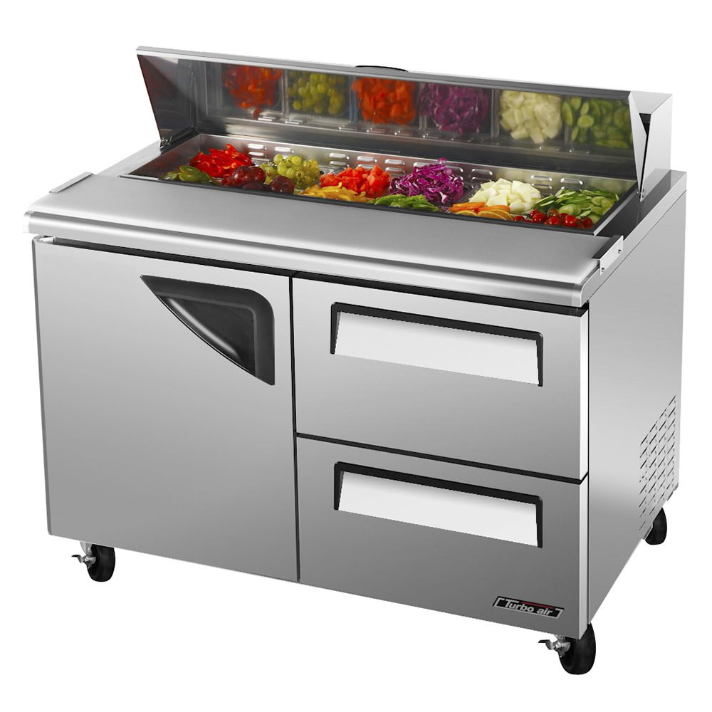 "Turbo Air TST-48SD-D2 48"" Sandwich/Salad Prep Table w/ Refrigerated Base, 115v"