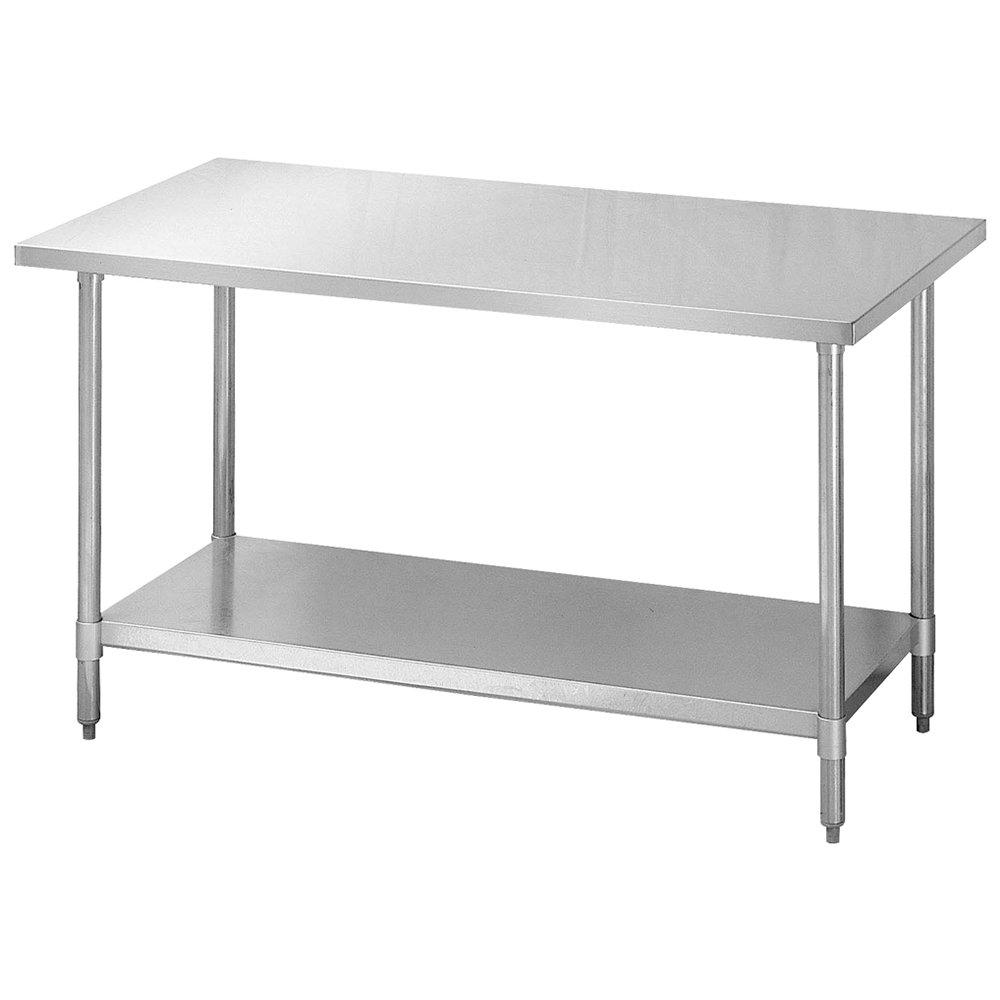 """Turbo Air TSW-2448SB 48"""" Work Table, 18/304 Stainless Top w/ 1.5 Rear, Galvanized Shelf, 24"""" W"""