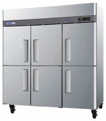 M3F72-6 Reach-In Freezer w/ 3-Section & Half Doors 72-cu ft Restaurant Supply