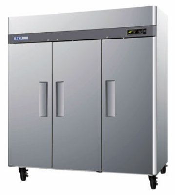"""Turbo Air M3R72-3 78"""" Three Section Reach-In Refrigerator, (3) Solid Door, 115v"""