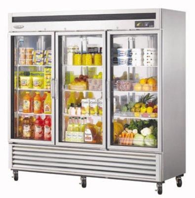 "Turbo Air MSR-72G-3 81"" Three Section Reach-In Refrigerator, (3) Glass Door, 115v"