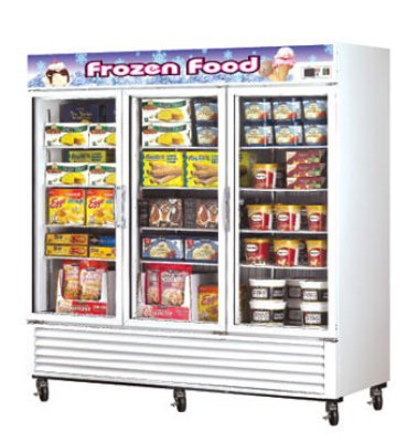 "Turbo Air TGF-72F 81.88"" Three-Section Display Freezer w/ Swinging Doors - Bottom Mount Compressor, 115v"