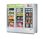 "Turbo Air TGF-72SD 78"" Three-Section Display Freezer w/ Swinging Doors - Bottom Mount Compressor, 115v"