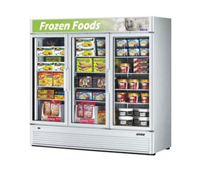 "Turbo Air TGF-72SD 78"" Three-Section Display Freezer w/ Swinging Doors - Bottom Mount Compressor, Black, 115v"