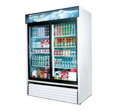 "Turbo Air TGM-48R 55.88"" Two-Section Refrigerated Display w/ Sliding Doors, Bottom Mount Compressor, 115v"