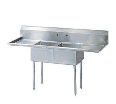 "Turbo Air TSA-2-12-D1 72"" 2-Compartment Sink w/ 18""L x 18""W Bowl, 12"" Deep"