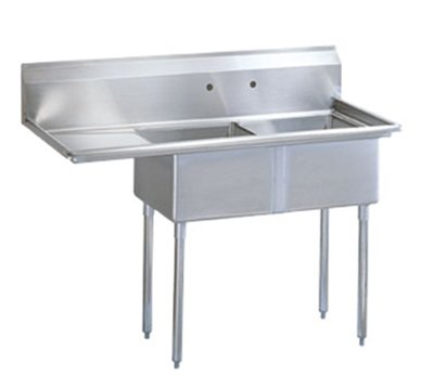 "Turbo Air TSA-2-L1 57"" 2-Compartment Sink w/ 18""L x 18""W Bowl, 11"" Deep"