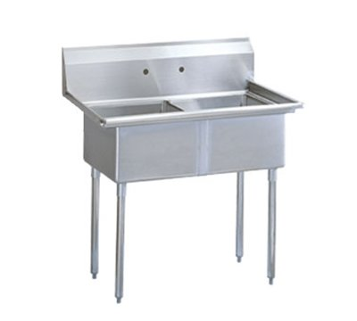 "Turbo Air TSA-2-N 42"" 2-Compartment Sink w/ 18""L x 18""W Bowl, 11"" Deep"
