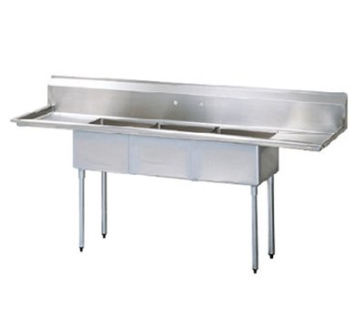 Turbo Air TSA-3-14-D2 Sink, (3) 18 x 18 x 14-in D w/ 24-in L & R Drainboard, Stainless