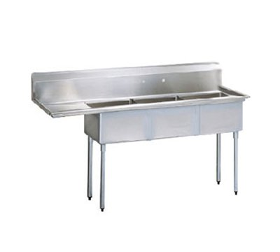 "Turbo Air TSA-3-L1 75"" 3-Compartment Sink w/ 18""L x 18""W Bowl, 11"" Deep"