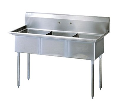 Turbo Air TSA-3-14-N Sink, (3) 18 x 18 x 14-in Deep w/ 11-in Splash, Stainless