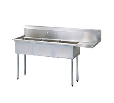 "Turbo Air TSA-3-12-R1 75"" 3-Compartment Sink w/ 18""L x 18""W Bowl, 12"" Deep"
