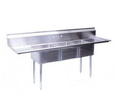 Turbo Air TSB-3-D2 Sink, (3) 24 x 24 x 14-in Deep, 24-in L & R Drainboard, Stainless