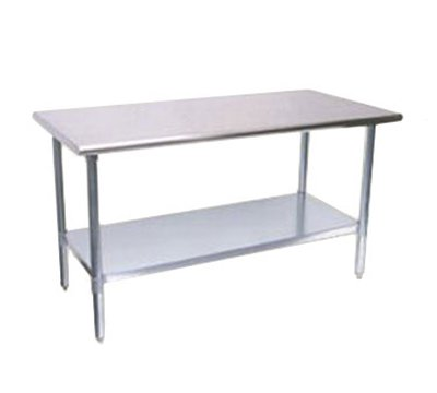 "Turbo Air TSW-3096E 96"" Work Table, 18/430 Stainless Top, Galvanized Shelf, 30"" W"