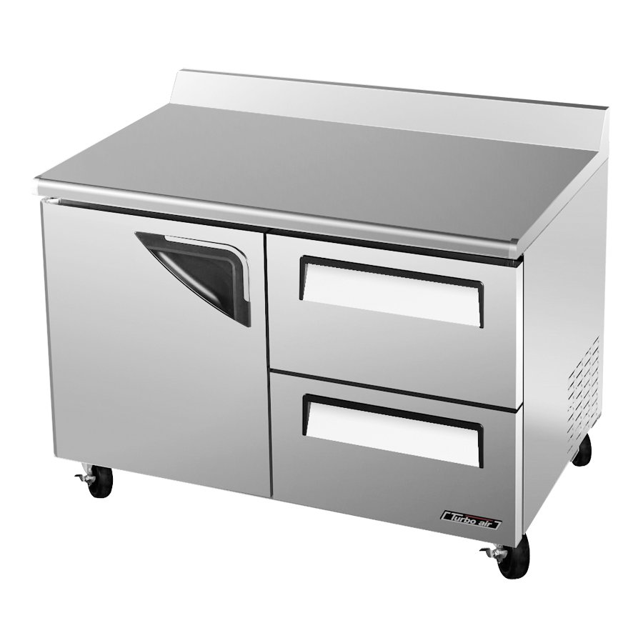 Turbo Air TWF-48SD-D2 12-cu ft Worktop Freezer w/ (2) Sections & (1) Door, (2) Drawers, 115v