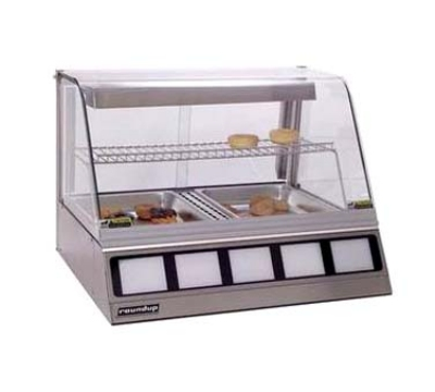 "Roundup DCH220 30.25"" Full-Service Countertop Heated Display Case w/ Curved Glass - (2) Pan Capacity, 120v"