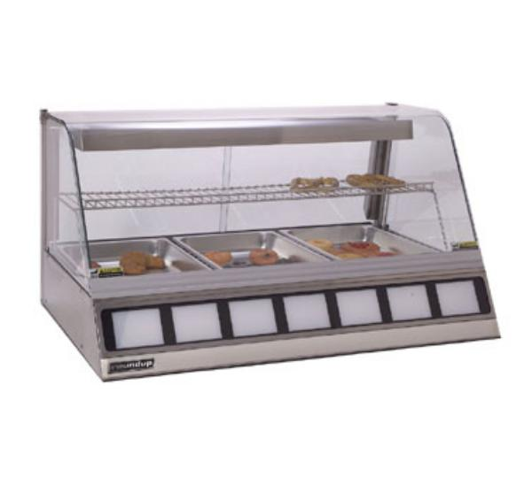"Roundup DCH-300 42.5"" Full-Service Countertop Heated Display Case w/ Curved Glass - (3) Pan Capacity, 120v"