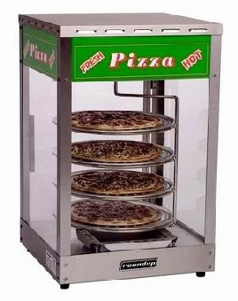 Roundup PZD-414 Pizza Heated Display Cabinet, Rotating Rack, Holds (4) 14 in Pizzas