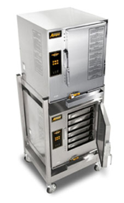 Accutemp E62083D080DBL 2-Boilerless Convection Steamers w/ Stand & 12-Pan Capacity, 8kw, 208/3 V