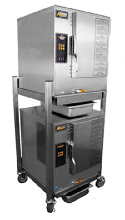 Accutemp N61201D060DBLNG 2-Boilerless Convection Steamers w/ Stand & 12-Pan Capacity, 60000-BTU, NG
